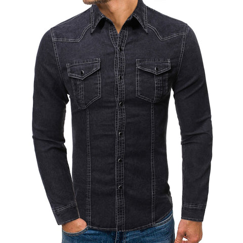 New Casual Denim Shirt Men Slim Fit Long Sleeve 100% Cotton Vintage Distressed Solid Shirt Male Brand Clothing