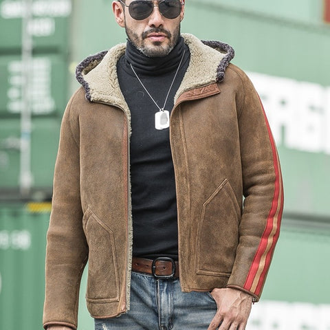 Luxury Reversible Genuine Sheepskin Jacket Men Casual Hooded Real Fur Coat Male Winter Loose Zipper Outerwear Plus Size