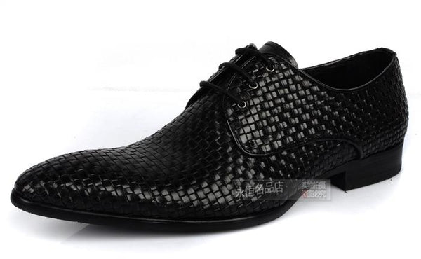Knitted Leather Mens Business Office Dress Shoes Italian Oxfords Derby Shoes Pointed Toe Wedding Party Formal Oxfords