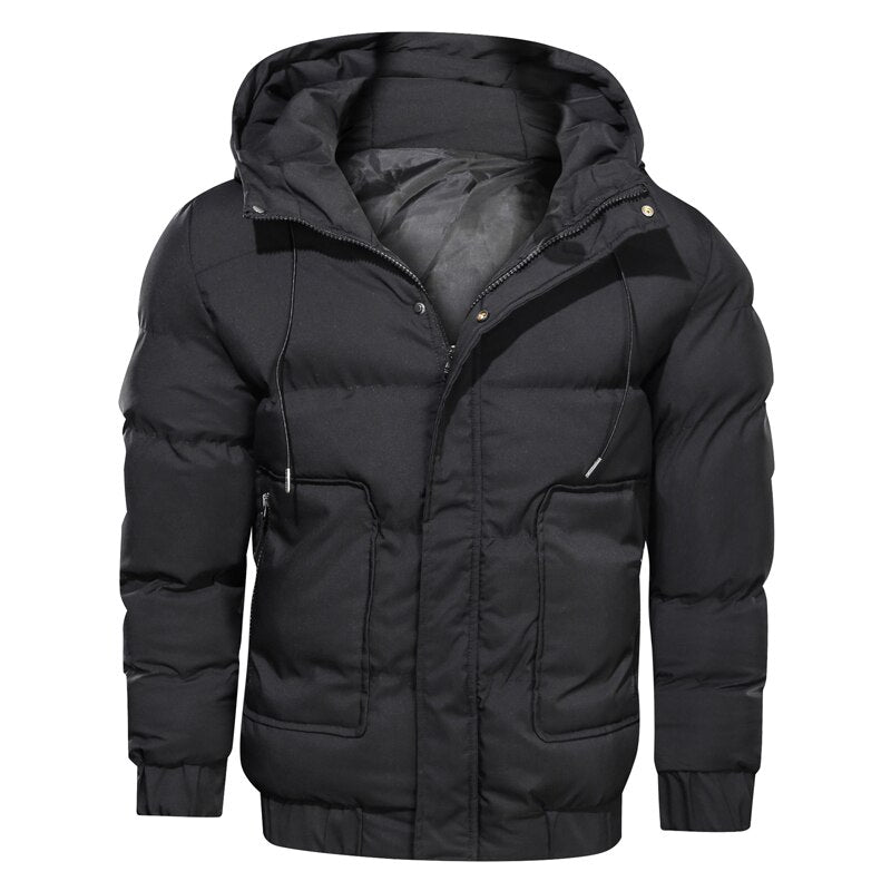 New Winter Jacket Parkas Men Solid Hooded Zipper Thicken Warm Coats Men Waterproof Mens Parkas Mens Jackets And Coats