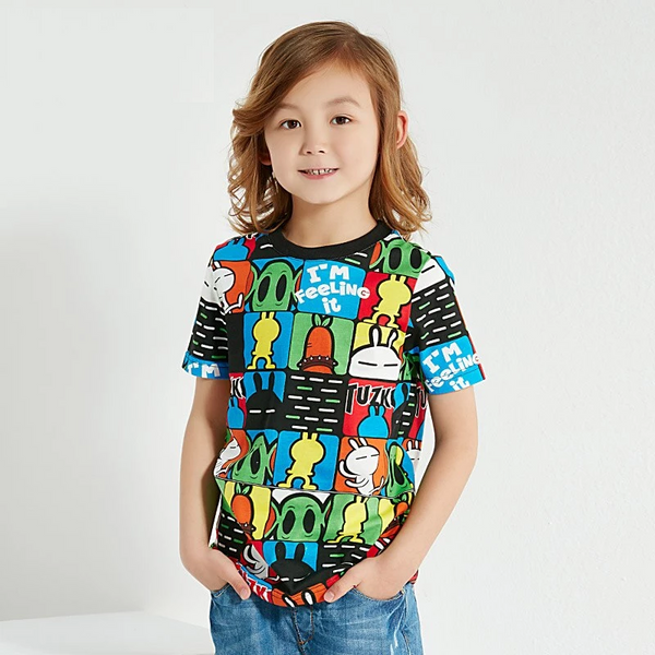 X Tuzki T-Shirts Boys Short Sleeves O-Neck Cartoon T Shirt Kids Cotton Baby Boy Tops Children'S Clothing 12 14 Years