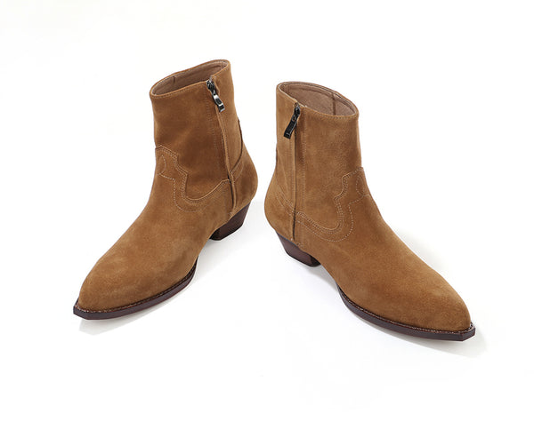 Autumn Winter Zipper Chelsea Boots Men Runway Fashion Suede Leather Square Toe Ankle Boots British Cowboy Shoes Plus Size