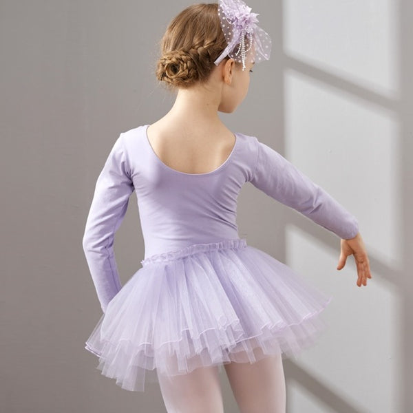 Combed Cotton Ballet Dress Tutu Ballet Dance Dress for Girls Kids Children High Quality Long Sleeves Tulle Dance