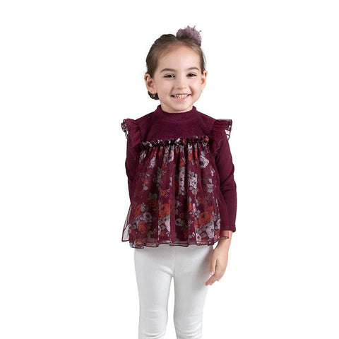 Baby Girl Shirt New Autumn Winter Clothing Quality Red Floral Lace Child Girls  Shirt Kids Thicken Fashion Flower Velvet Shirt