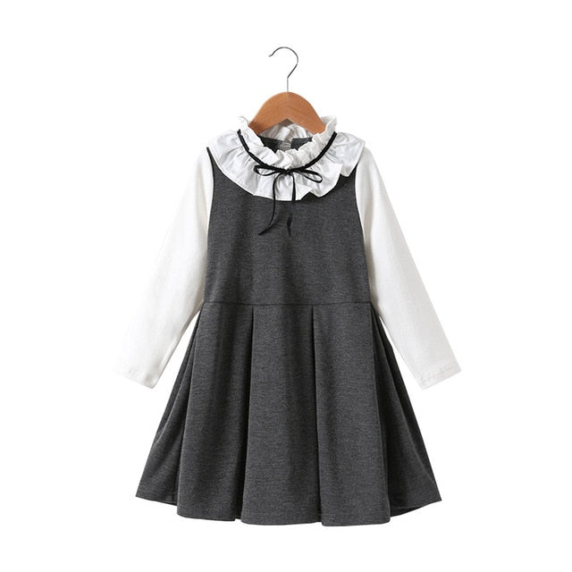 Cute Girls Dress Spring Autumn Children's Clothing Cotton Fashion Bowknot Girl Princess Dress Long Sleeve Preppy Kids Clothes