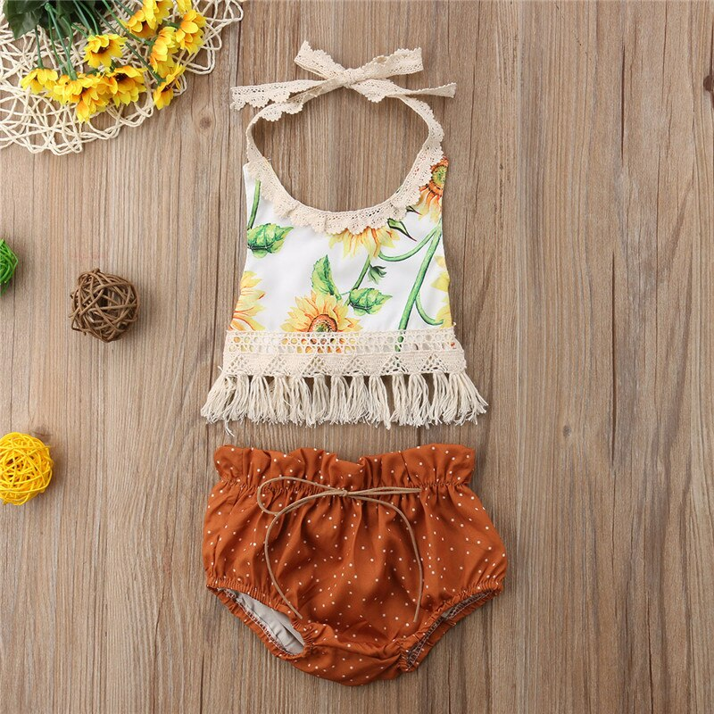 Baby Girls Clothes Set Newborn Sunflower Sleeveless Summer Cute Girl Clothing Tassel Backless Top Dot Short Outfits 2PCs