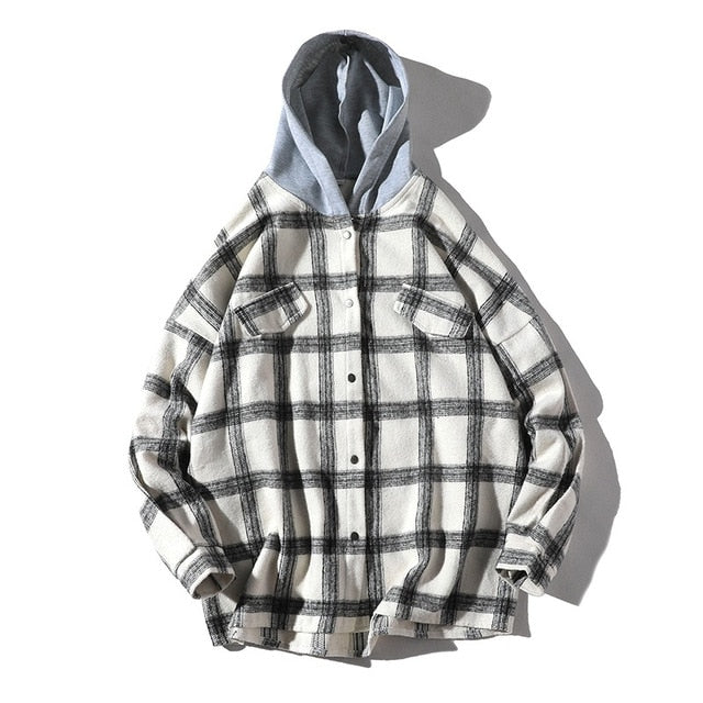 Streetwear Plaid Hooded Men Shirt Autumn Thick Long Sleeve Oversized Shirt Men Tops Chest Pockets Shirts Men Dress