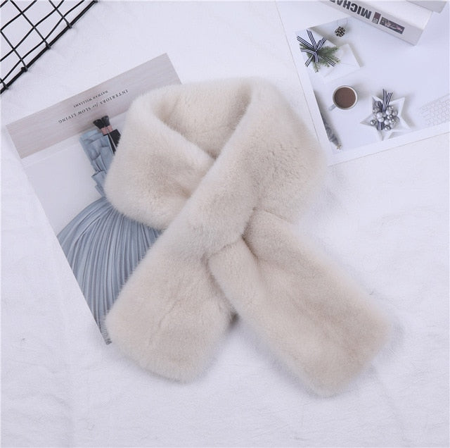 Highend Quality Unisex Women's Winter 100% Real Mink Fur Scarf Double-sided Scarves Men's Wraps Neck Warmer Mufflers Real Fur