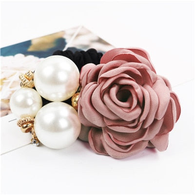 1pc Ins Women Fashion Big Rose Flower Hair Accessories  Pearl Rhinestone Hair Bands Elastic Hair Rope Ring 6 Colors For Girls