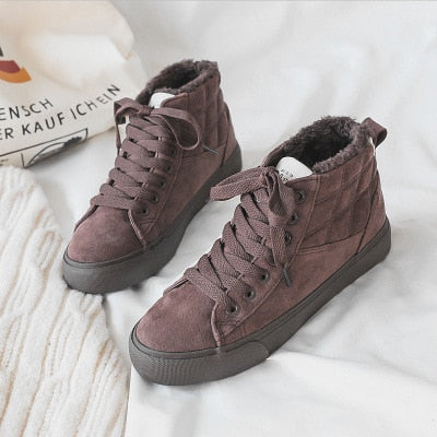 Winter Shoes Women Short Plush Lined Solid Color Ankle High Women Booties Fur Lining Warm Sneakers Girls Lace Up New 35-40