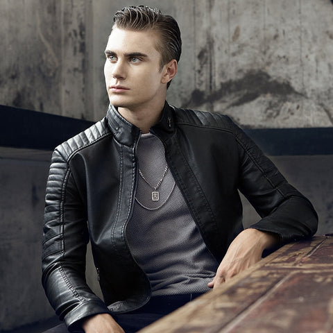 Autumn New Men's Casual Stand Collar Slim Leather Jacket Slim Solid Color Leather Jacket Men