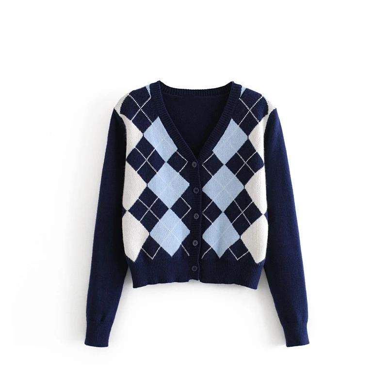 beauty Autumn Winter Wear Office Lady Chic Plaid Printed Loose Sweaters Women Knitted Cardigans Elasticity Warm Tops