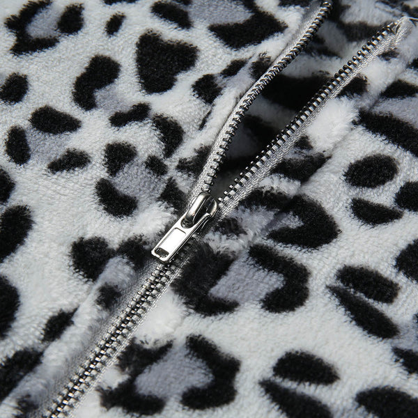 Fashion Sweatshirts Female Hoodie Leopard Print Artificial Wool Shirt Zipper Top Winter Parka Blouse Creative Women Sweatshirts
