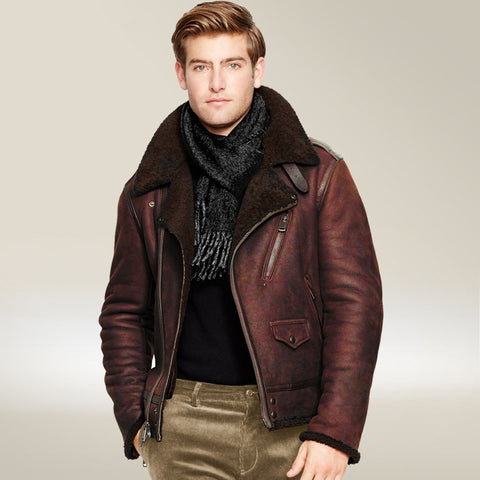 Man Bomber Jacket Shearling Sheepskin Leather Fur Coat Mens Moto Biker Flight winter jacket men