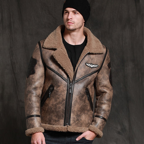 New Jungle Brown Shearling Men Winter Thick Warm Sheepskin Coat Top Quality Leather Genuine Clothing Slim Fur Jacket