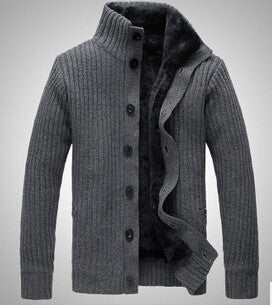 Fashion Sweater Men Stand collar pull homme long sleeve Casual  Knitted Sweater Man plus thick  Cardigan Sweater A1241