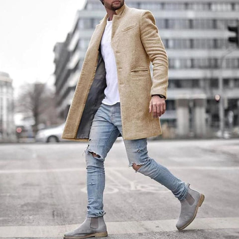 Men long Jacket Autumn winte warm Lapel Solid Color Long Sleeve Slim business Coat Single-breasted male coat plus size
