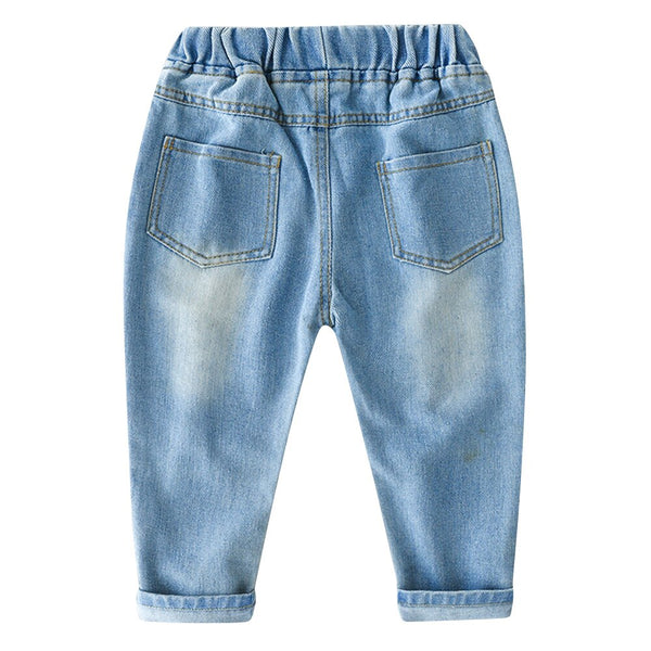 Children Ripped Hole Jeans Pants Brand Kids Cartoon Trousers Fashion Girls Broken Denim Children Boys Jean Clothing