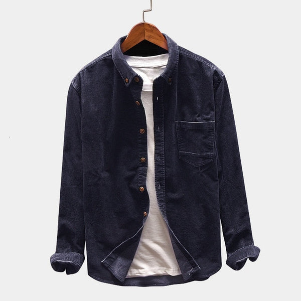 Autumn Corduroy Shirt Men's Slim Fashion Solid Color Retro Casual Shirt Men Streetwear Wild Long-sleeved Shirts Mens