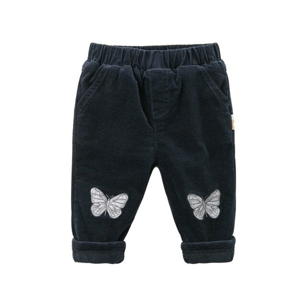 Winter baby girls fashion pockets butterfly pants children full length kids pants infant toddler trousers