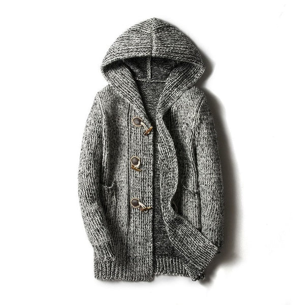 Hooded Mens Sweater Cardigan Large Size M-5XL Knitted Outwear Coat Personality Buckle Design Long Coat