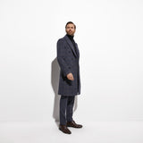 Winter Topcoat Double Breasted Navy Windowpane Long Coat Custom Made Heavy Warm Wool Blend Tailored Slim Long Jacket Autumn