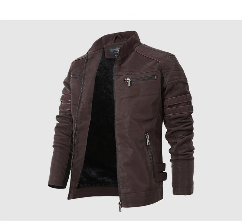 Winter Leather Jacket Men Stand Collar Motorcycle Washed Retro Velour Leather Jacket European Size Mens Coats