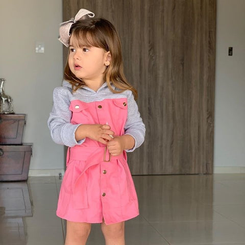 New Toddler Baby Girls Hooded Dress Clothes Kids Long Sleeve Patchwork Button Outwear Overall Dress