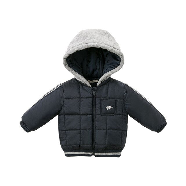 Winter baby boy zipper jacket children fashion outerwear kids hooded navy coat