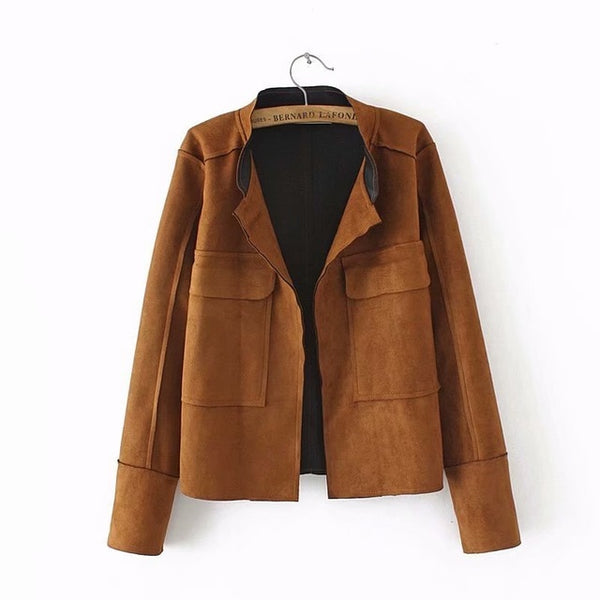 Casual Women Jackets Suede Coats Plus Size XXXL Solid Short Style Pockets Open Stitch Jacket Outerwear