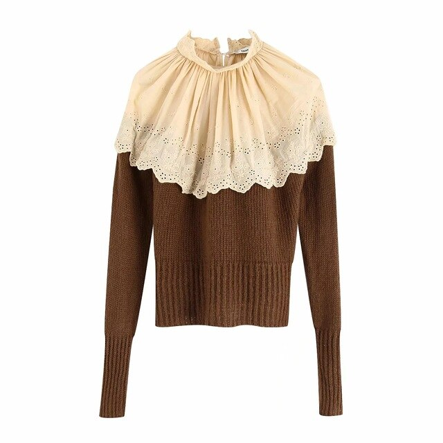 new Womens patchwork Sweaters turtleneck lace Pullovers Winter Autumn chic Jumpers zora vicky slim Sweaters za Tops