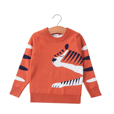 New Autumn Kids Sweater Cute Long Sleeves Children Pullovers Cartoon Print Warm Knitted Sweater for Boys Girls