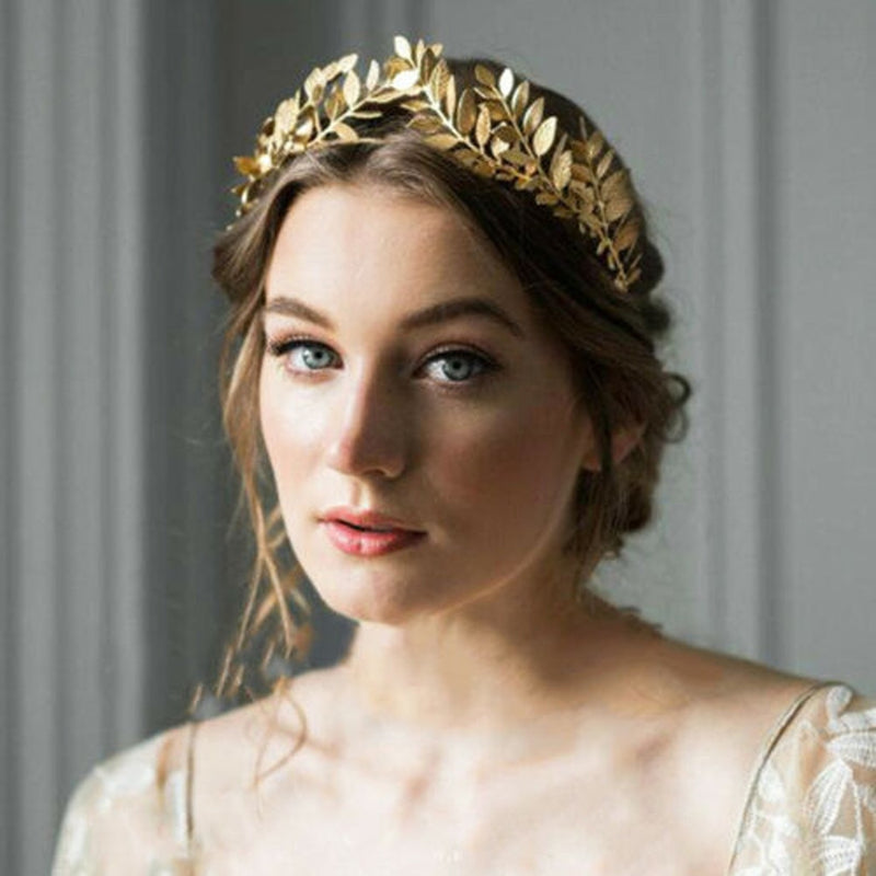Women Headband Goddess Leaf Flower Hair Crown Head Piece Gold