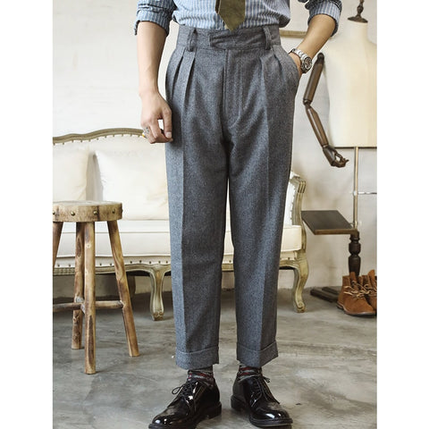 casual style pants men vintage 400 gsm 75% wool pants