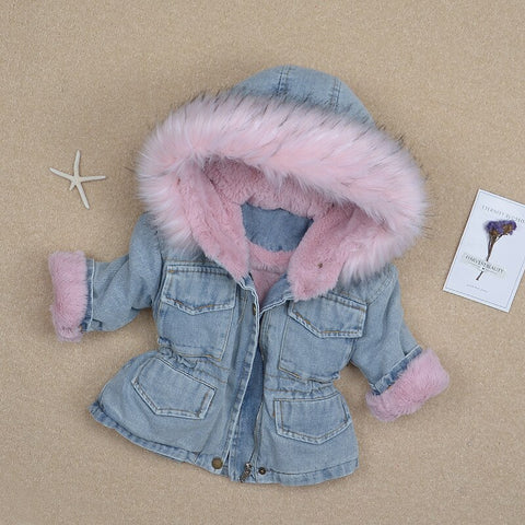 Winter Baby Girls Denim Thicken Jacket Velvet Warm Outerwear Baby Girls Coat Kids Parka