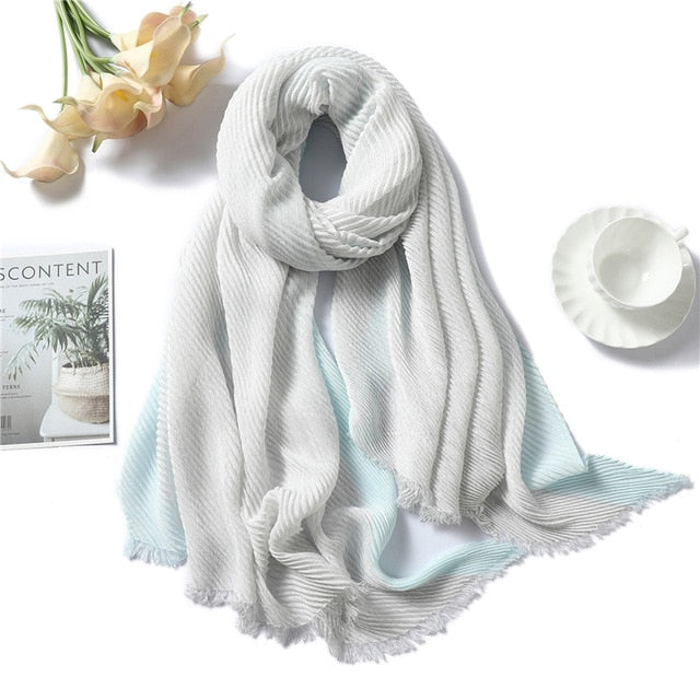 New Design Solid Women Scarf Crinkle Hijabs for Lady Fold Shawls and Wraps Winter Lady Headband Neck Warm Scarves Foulard