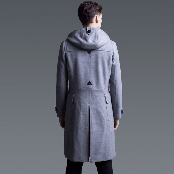 British Style Men Hooded Wool Coat Winter Horn Button Slim Casual Thick Pockets Cashmere Long Thick Pea Coat Plus Size Overcoat