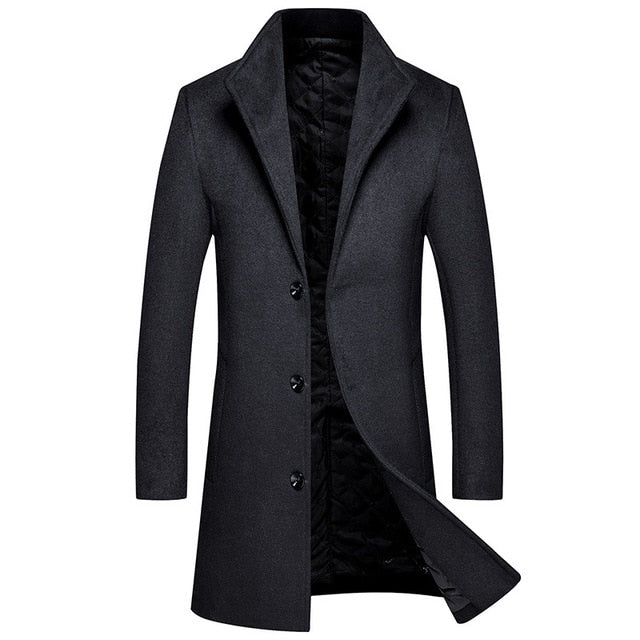 Autumn and Winter New Men's Warm Wool Coat Casual Thick Long Jacket Men Male Brand Black Red Wine Navy Gray