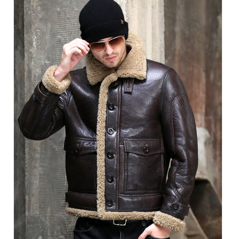 Thicken Real Sheepskin Coat Men Winter Warm Brown Fur Clothing New Genuine Leather Natural Sheepskin Leather Outwear
