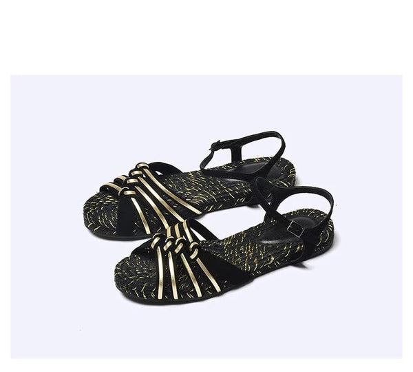 Women Summer Flat Sandals Strap Genuine Leather Open Toe Fashion Comfortable Female Shoes Black Gold