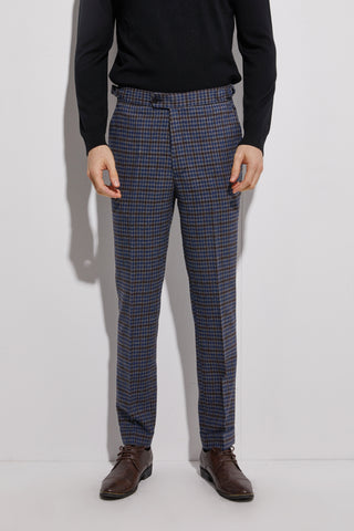 Flannel Pants With Cuff Dark Blue Plaid Men Slim Fit Business Pants Custom Made Flannel Trousers With Side Adjusters