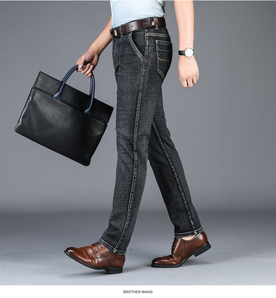 Men's Straight Business Jeans Autumn Winter New High Quality Blue Gray Elastic Denim Pants Male Brand Trousers