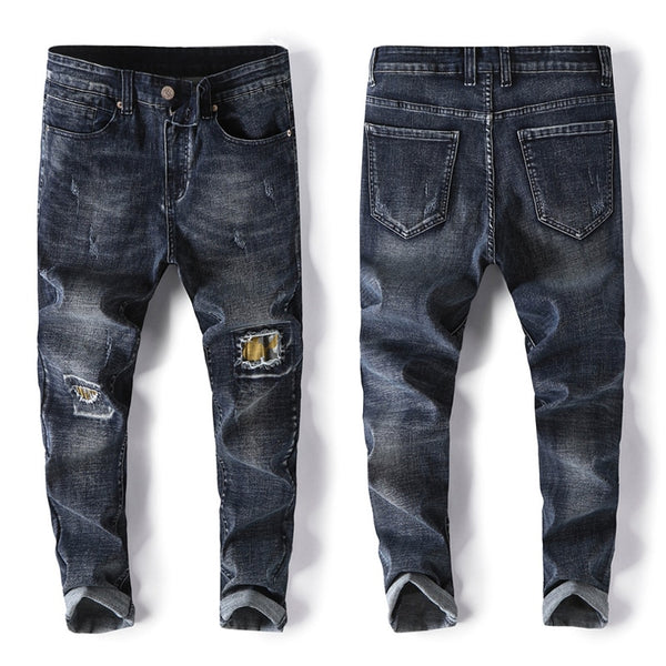 Men's Slim Jeans New Personality Fashion Patch Denim Harem Pants Male Brand Trousers Black Blue