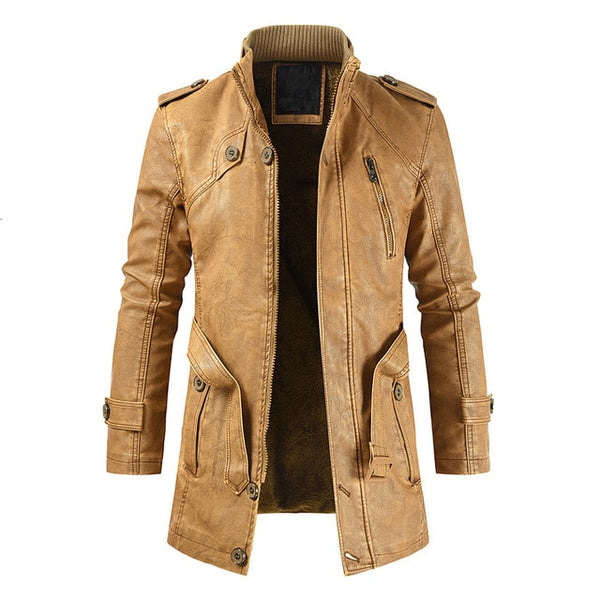 Men Winter Brand New Long Thick Fleece Leather Jacket Coat Men Outwear Fashion Warm Casual Vintage Faux Leather Jacket Men