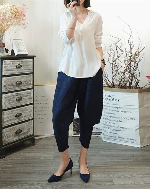 Spring spring New Pattern Elastic Waist Pleated Ankle-Length Solid Color Loose Ladies Harem Pants