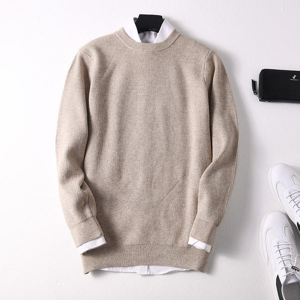 Sparsil Men Winter Warm O-Neck Cashmere Pullovers Full Sleeve Thick Soft Wool Sweaters Autumn Comfortable Knitted Jumpers