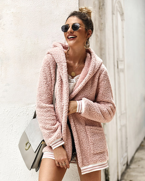 Warm winter faux fur coat women hooded fashion streetwear long coat pockets striped 2019 Autumn female coat outerwear