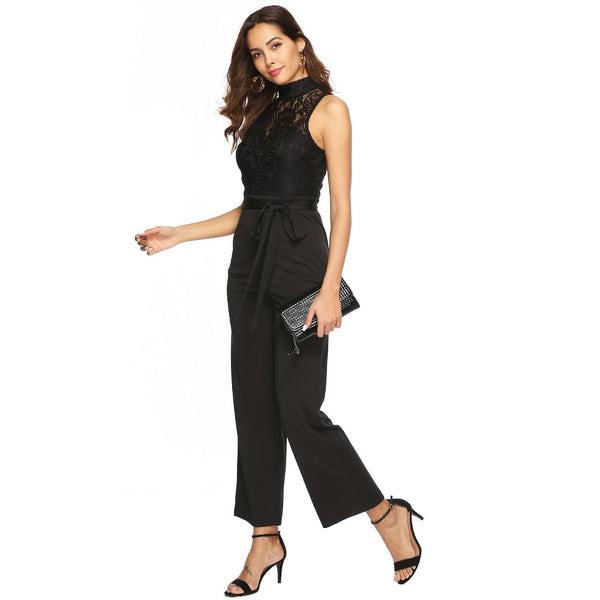 Elegant Bodycon Jumpsuits Women Summer Sexy Sleeveless Hollow Out Rompers OL Work Overalls Lace Belt Jumpsuits Black