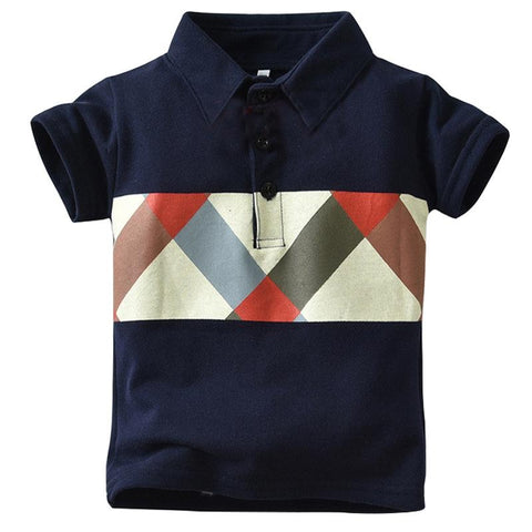 T-Shirt Kids Clothes Turn-down Collar Baby Boy Summer Top Tshirt Color Stripes lattice