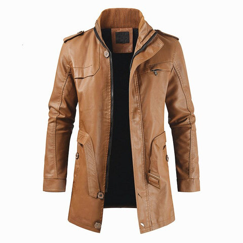 Men Autumn Long Warm Fleece Leather Jacket Coat Men Winter Casual England Style Vintage Leather Jacket Parkas Men